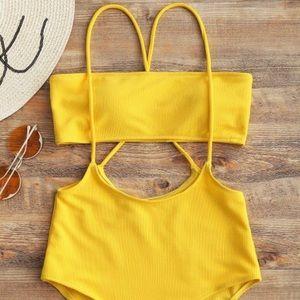 Yellow high waist swimsuit